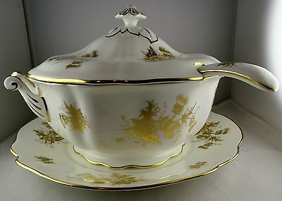 Hammersley China Gold Thistle Soup Tureen w/ Ladle & Underplate