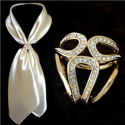Fashion Womens Gold Silver Crystal Silk Scarf Buckle Ring Holder Clip Jewelry