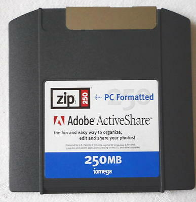 Iomega ZIP250 PC Formatted 250Mb ZIP Disk WITH Jewel Case & Adobe ActiveShare