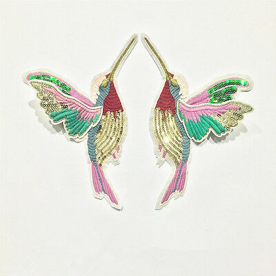Set of 2Pcs Hummingbirds Sew On Patch Badge Embroidered Lace Fabric Applique DIY