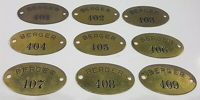 9 Vtg Brass Tag Numbers Berger Industrial Steampunk Art Key # 401-409