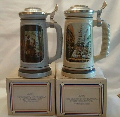 """Vintage """"Avon"""" 2-pc Lot Building of Am Coll- Ship Builder and Black Smith."""