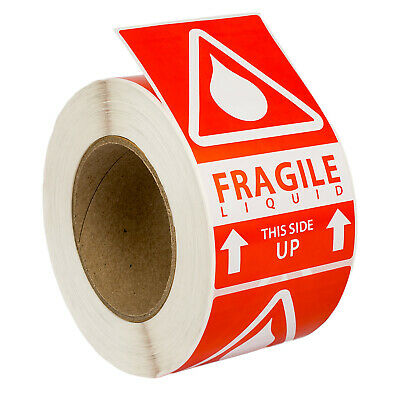 """2 Rolls ; 500 Labels 3x5 (3"""" x 5"""") Pre-Printed Fragile LIQUID This Way Up Labels"""