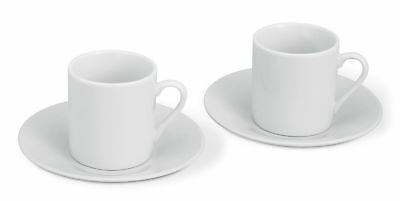 White Coffee Espresso 4 piece Set 2 CUP & SAUCER GIFT in Plain Generic Gift BOX