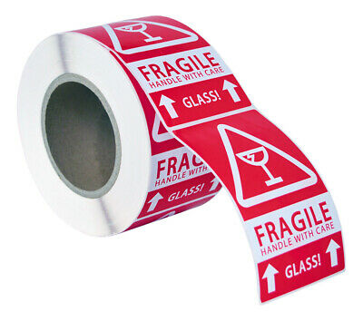 """2 Rolls ; 500 Labels 3x5 (3"""" x 5"""") Pre-Printed Fragile GLASS This Way up Labels"""