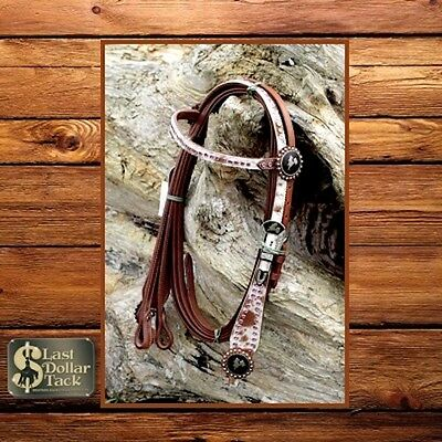 Western Show Headstall & Reins Chestnut Leather With Pink Crystals