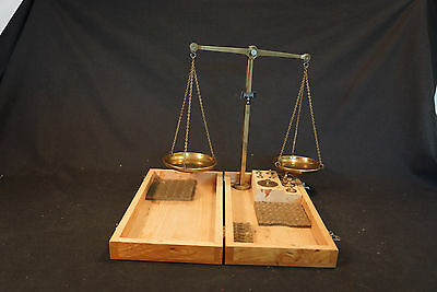 Old Vtg Brass Travel Balance Scale In Wood Box With Weights Desk Accessory