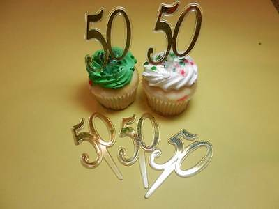 12- 50th Gold Wedding Anniversary Number Cupcake Picks Toppers Cake Decorations