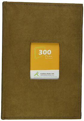 "Suede Cover Brown Photo Album Holds 300 4""x6"" pictures, 3 per page"