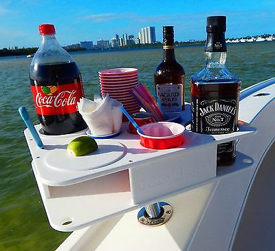 FULLY CUSTOM DOCKTAIL Boat Bottle and Cup Holder Bar with Magma Rod Holder Mount