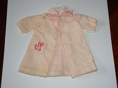 Vintage Barbie Skipper Doll Outfit, Flannel Robe Cat Pocket, Tagged 1963