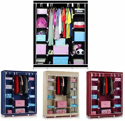 Multiple colors Triple Canvas Wardrobe With Hanging Rail storage Best Quality