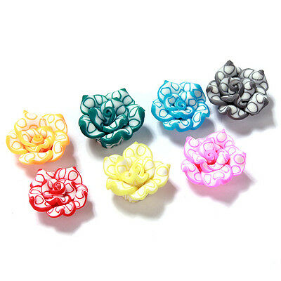 40pcs New Mixed Random Color Lotus FIMO Polymer Clay Bead Fit Handmade Carfts L