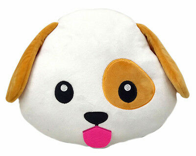 Dog Puppy Emoji Pillow Emoticon Cushion Soft Smiley 32cm NEW