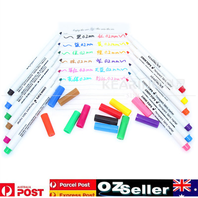 12x Multi-color T-Shirts Shoes Clothes Tip Fabric Textile Paint Marker Pens DIY