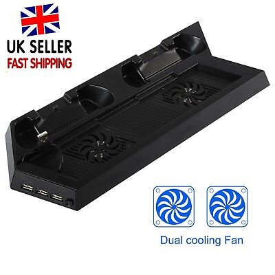 PS4 Cooling Fan Stand Dual Charging Dock Controller HUB USB Charger  For ps4 UK