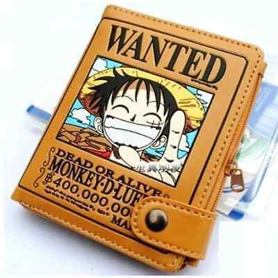 FD4139 One Piece Monkey D Luffy Pirate Wanted Cosplay Leather Wallet Purse New♫