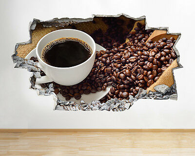 Wall Stickers Coffee Beans Cup Kitchen Café Decal Poster 3D Art Vinyl Room A076