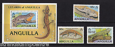Anguilla - 1989 Lizards - U/M - SG 811-3 + MS814