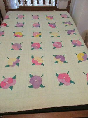 Vintage Quilt - Hand Sewn - Appliqued Pansies - Light Green with Flowers