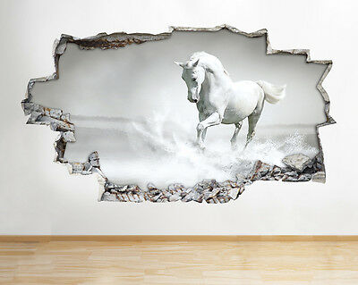 B042 Black White Horse Pony Girls Bedroom Wall Decal Poster 3D Art Stickers Viny