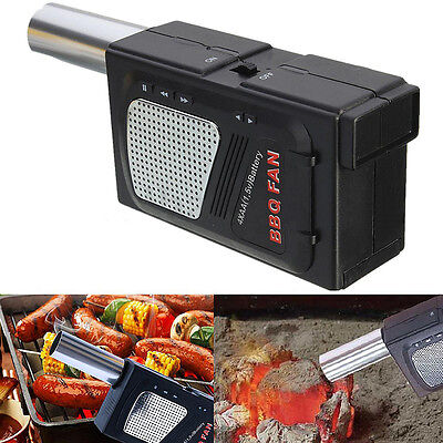 Portable BBQ Grill Air Blower Electricity Smoker Fan Camping Fire Bellow Tool