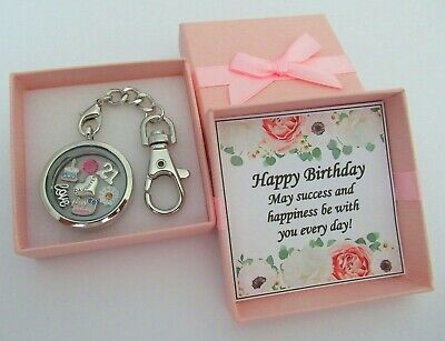 BIRTHDAY Gift Floating Memory Locket Keyring 16th 18th 21st 30th 40th 50th 60th
