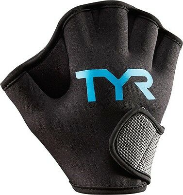 TYR Aquatic Resistance Gloves Webbed Finger Swimming Training Glove Black Blue L