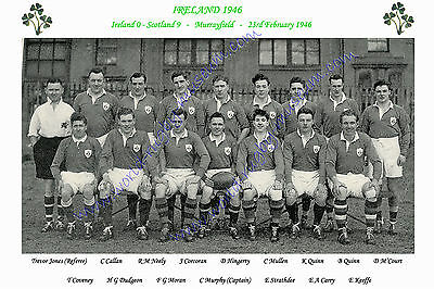 "IRELAND 1946 (v Scotland) 12"" x 8"" RUGBY TEAM PHOTO PLAYERS NAMED"