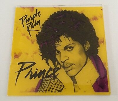Prince Purple Rain Original Vintage Glass Tile Promo 1984  Warner Bros.