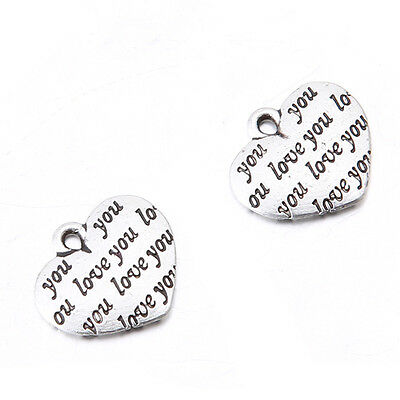 20x Retro Vintage Silver Love You Heart Zinc Alloy Pendant Fit Jewelry Making L