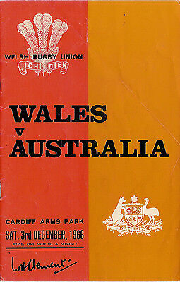 WALES v AUSTRALIA 1966 RUGBY PROGRAMME at CARDIFF ARMS PARK