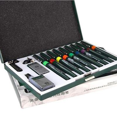 -UK- Refillable Technical Drawing Pens Needle Pen Set 0.1-1.2mm (9 Pens)