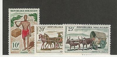 Malagasy Republic, Postage Stamp, #373, 375-376 Mint LH & NH, 1965-66