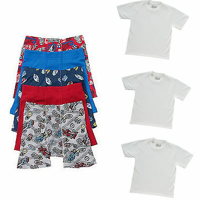 8 PC Boys' Boxer Brief Underwear T Shirts Bundle Lot Toddler Size 2T 3T 4T