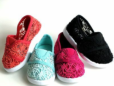 New Baby Toddler/Infant Girls Classic Crochet Slip On Flat Shoes Size 1-8