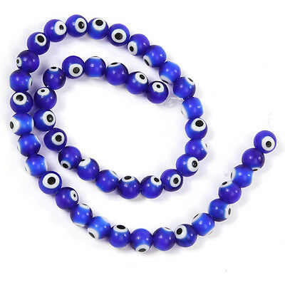 2Strings New Royalblue Evil Eye Smooth Lampwork Glass Loose Spacer Beads Lots L