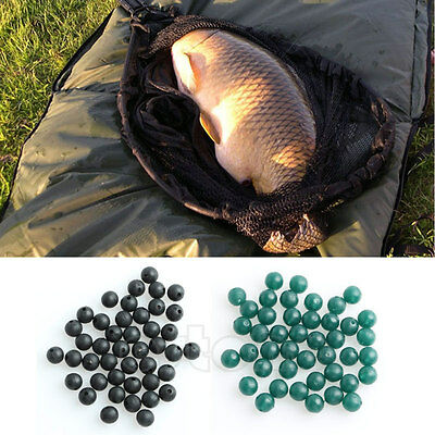 50pcs 6mm Carp Fishing Soft Rubber Beads Tackle Accessories Brown Green Black