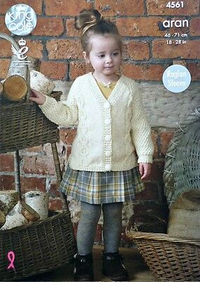 KNITTING PATTERN Childrens Long Sleeve V-Neck Cable Cardigan Aran King Cole 4561