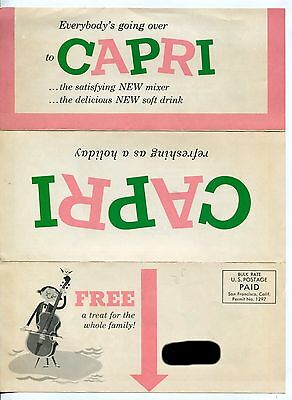 """Vintage Ad Mailer: """"CAPRI - The Delicious NEW Soft Drink"""""""