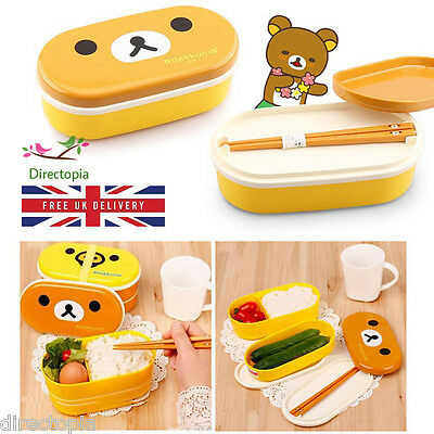 2 Tier Bear & Duck Cute Lunch Box Bento with Chopsticks Japan FREE UK DELIVERY
