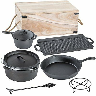 7 Piece Heavy Duty Dutch Oven Cast Iron Cookware Camping Set In Box (30076)