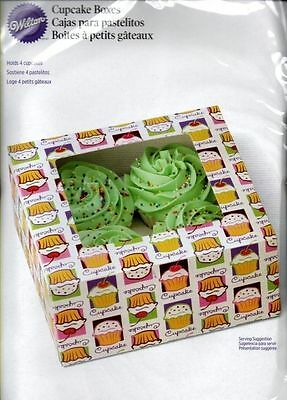 Wilton 4 Cavity Large Cupcake Heaven Muffin Window Boxes Bakery Treat Set 3 NEW