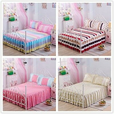 Striped&Dots New 100% Cotton Valance Solid Bed Skirt Set Single/Queen/King Size