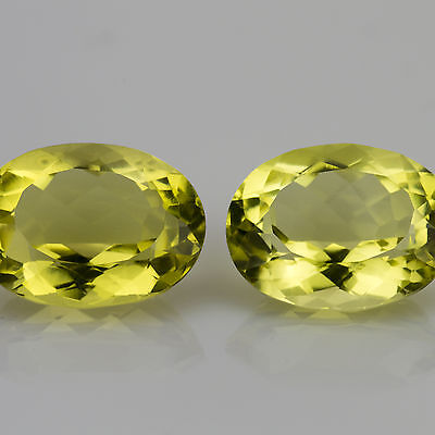 13.00tcw Pair Matched Citrine Oval cut ~14x11mm VVS Natural loose yellow gems
