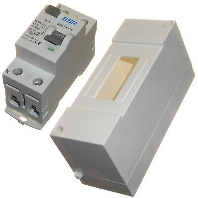 63A 80A 30mA RCD trip safety switch in enclosure double pole 63 or 80 amp New