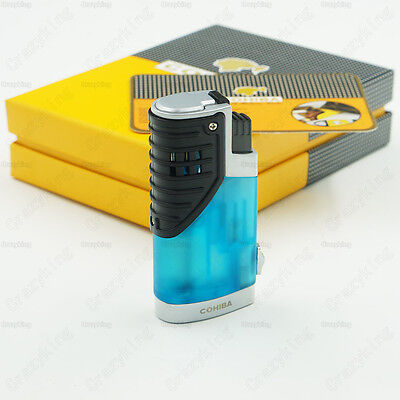 COHIBA Blue Translucence 3 Torch Jet Flame Cigar Cigarette Lighter With Punch