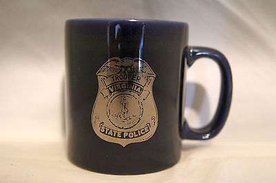 Virginia State Police Coffee Cup Mug Blue Silver Kiln Craft