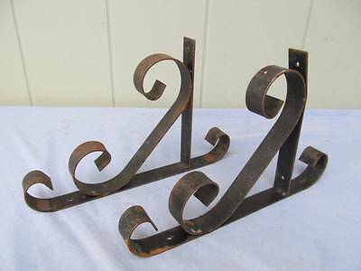 Vintage/Antique Pair of Wrought Iron Ornate Shelf Brackets