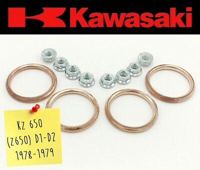 Exhaust Manifold Gasket Repair Set Kawasaki KZ 650 (Z650) D1-D2 1978-1979 (Nuts)